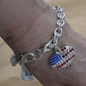 Jewelry - Red, Clear, Blue Rhinestone Heart Bracelet, Silver